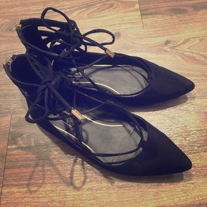 Topshop Flight Ghillie lace up black suede flats